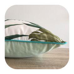 One Cushion Apuka, Monstera leaf design with Avocado back Aqua piping by islandinspiredhome on Etsy