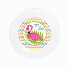 Fun In The Sun Flamingo Party Plate Have fun in the sun with this pink flamingo  sc 1 st  Pinterest & Create UR Plate Personalized Kids Party Plates! | Create UR Plate ...