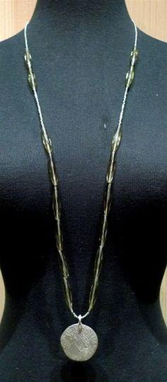 MIMA Silver Coin Necklace with Smoky Quartz Beads