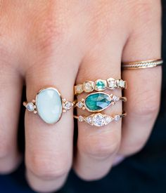 aquamarine with moonstones / audry rose
