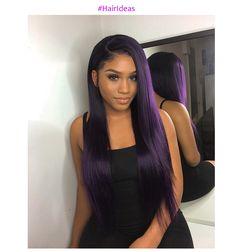 Trendy dark purple hair,Yay or Nay ? Purple Natural Hair, Purple Hair Black Girl, Black Girl Weave, Purple Wig, Hair Color Purple, Cool Hair Color, Purple Weave, Long Purple Hair, Purple Style