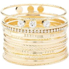 Charlotte Russe Metal Bling Bangles - 12 Pack ($6) ❤ liked on Polyvore featuring jewelry, bracelets, gold, oversized jewelry, charlotte russe jewelry, twisted bangle bracelet, stacking bangles and metal jewelry