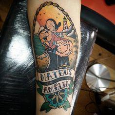 Classy Tattoos, Sexy Tattoos, Tatoos, Popeye Cartoon Characters, Popeye E Olivia, Popeye Tattoo, Olive Tattoo, Popeye Olive Oyl, Tatuagem Old Scholl