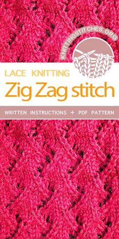 Knitting Stitches -- Free Knitting. Lovely Knitted Lace pattern. Knit Zig Zag Stitch. #knittingstitches #knittingpatterns