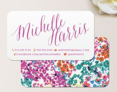 Modern Floral Calling Card / Calling Card / Mommy Card - CUSTOMIZE Colors and Content