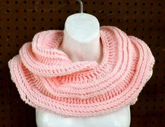 Crochet Scarf Crochet Infinity Scarf Crochet Cowl Scarf Soft Pink Scarf Winter Scarf SNAKE Infinity Scarf 45.00 USD by #strawberrycouture on #Etsy