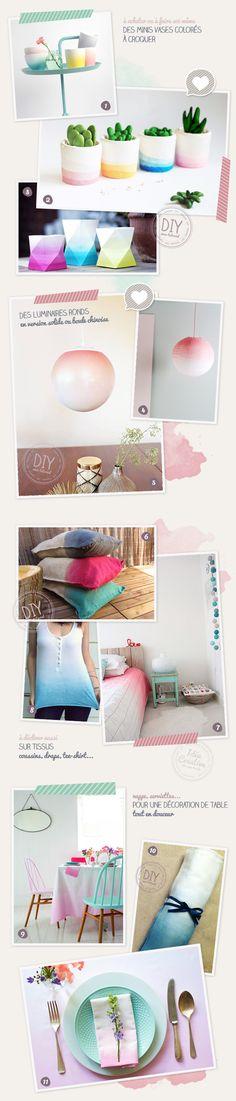 Idées objets décos DIY dégradés et tie and dye
