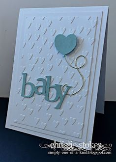 Beautiful handmade baby shower card with embossed background