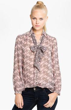 Bellatrix Mix Print Tie Neck Shirt available at #Nordstrom
