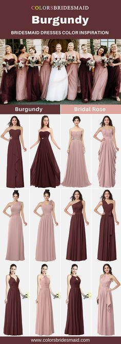Burgundy bridesmaid dresses color inspiration( burgundy and bridal rose) in fall weddings. Custom made, under $100, all sizes at Colorsbridesmaid.com. #colsbm #bridesmaiddress #weddings #weddingideas #burgundywedding