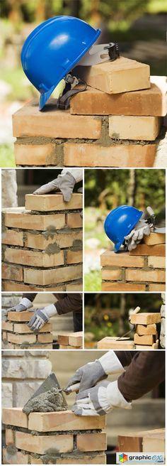 Concept  Tools masonry brick wall  stock images