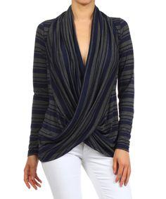Navy Stripe Twist Sweater - Women | zulily