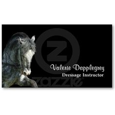 Dressage business card with a photo of a high-stepping dapple grey horse on a black background.