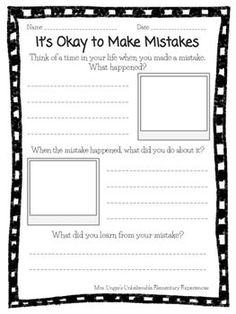 "This activity can be used as part of a growth mindset lesson. After reading aloud the book, ""It's Okay to Make Mistakes"" by Todd Parr, your students can make personal connections by reflecting on the questions, then writing and drawing their responses."