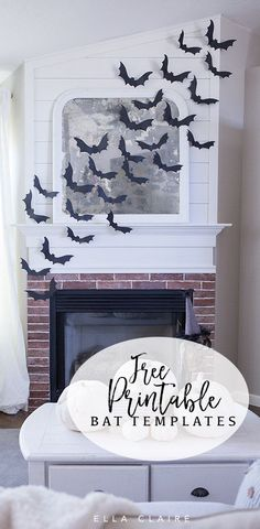 Diy Halloween Flying Bat Mantel Free Printable Halloween Bat Template Stencil An Easy Inexpensive Way To Add Spooky Fun To Your Decor Halloween Tags, Halloween Templates, Halloween Party Supplies, Halloween House, Holidays Halloween, Halloween Mantel, Halloween Cubicle, Farmhouse Halloween, Halloween Office