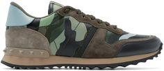 VALENTINO Green & Blue Camouflage Sneakers. #valentino #shoes #sneakers