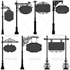 Buy Signage Shop Sign Route Pole Direction Plate by Leremy on GraphicRiver. This is a set of vector artwork representing objects of old standing shop signage and directional wrought plates. Shop Signage, Signage Design, Web Banner Design, Sign Image, Street Signs, Wrought Iron, Clip Art, Victorian, Decoration