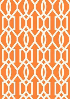 Downing Gate #wallpaper and coordinating #fabric in Tangerine from the Resort Collection by #Thibaut