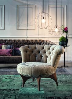 Velvet Furniture, Couch Furniture, Furniture Design, Cozy Chair, Chair And Ottoman, Canapé Design, Chair Design, Living Room Sofa Design, Living Room Decor
