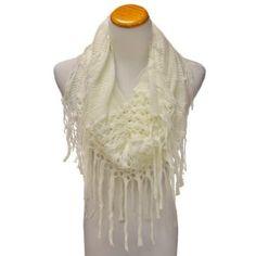 Ivory Versatile Knit Infinity Tube Scarf With Long Draping Fringe Luxury Divas. $17.99