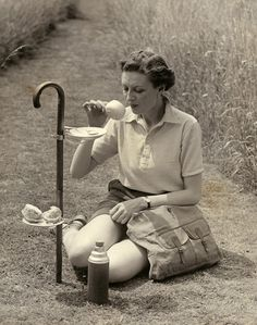 The British Tea Time. Love the idea of a cane to support cups and saucers.