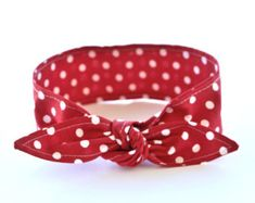 Bow Headband Rosie the Riveter Red with White Polka Dots Rockabilly Pin Up Women Teen Girls Headscarf Top Knot Headband