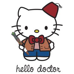 "HELLO KITTY Dr. Doctor Who Tardis Sticker Decal 4"" for kindle, ipads, iphone, apple laptop, shirts, cars, stocking stuffers, etc."