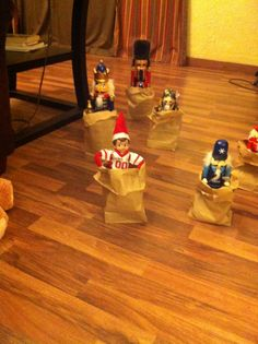 Jake having a sack race with the nutcrackers.
