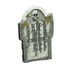 """Scary Tomb"" Schauriger Halloween Grabstein mit Moos Effekt XL 0,55 Meter groß ultra realistisch Totenkopf Design spooky Kult Horror Friedhofs Deko Horror Party Großdeko Mitternachts Schocker Show Sensation"