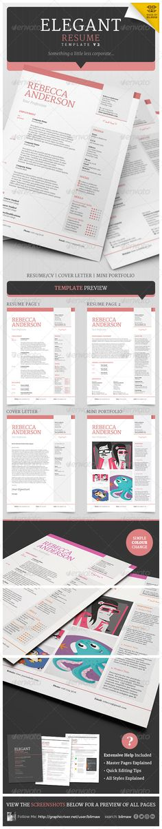 Elegant Resume / CV Cover Letter & Mini Portfolio. Easy to edit | MS Word | Photoshop | InDesign | instant download | Print ready | Professional look.