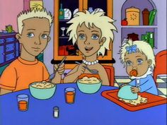 Bart, Lisa and Maggie in The Simpsons...if they were inbred freaks.