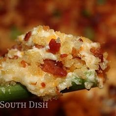 Charleston Cheese Dip,  made with cream cheese, cheddar and swiss cheeses, bacon, jalapeno, green onion, and topped with panko & bacon.  I am SO making this soon, and for football season.... and the holiday season!  And, whenever!