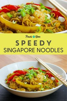 Speedy Singapore Noodles Pinch Of Nom Clean Eating Recipes, Lunch Recipes, Easy Dinner Recipes, New Recipes, Vegetarian Recipes, Healthy Eating, Cooking Recipes, Healthy Recipes