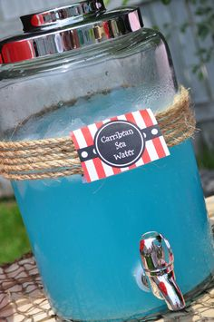 Here's a great drink idea for a pirate birthday party! See more party ideas at CatchMyParty.com.