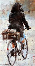 Andre Kohn - To Marsailles Bicycle Painting, Bicycle Art, Painting People, Figure Painting, Art Texture, Impressionist Paintings, Beautiful Paintings, Art World, Les Oeuvres