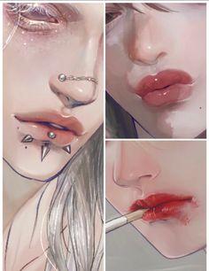 Digital Art Tutorial, Digital Painting Tutorials, Art Tutorials, Aesthetic Drawing, Aesthetic Anime, Aesthetic Art, Lips Painting, Matte Painting, Cool Drawings