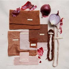 Red onion skins create a earthy range of colors. Protein fibers such as wool and silk, dye a pale to medium nutmeg brown, with a mix of rosewood, russet and rosy browns. Shibori, Fabric Yarn, How To Dye Fabric, Dyeing Fabric, Textile Dyeing, Dyeing Yarn, Natural Dye Fabric, Natural Dyeing, Furoshiki