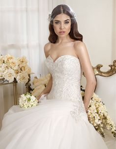 "Bridal dress P7435 by "" 2014 Perle di Delsa collection""."