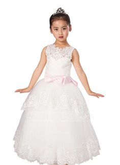 [AU$ 86.53] Ball Gown Floor-length Flower Girl Dress - Satin/Tulle Sleeveless Scoop Neck With Sash/Appliques/Bow(s)/V Back (010093747)