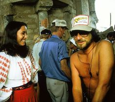 Karen Allen & Steven Spielberg behind the scenes on #IndianaJones Raiders of the Lost Ark (1981).