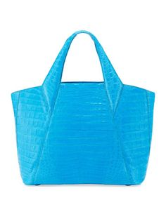 Medium Open Crocodile Tote Bag, Blue by Nancy Gonzalez at Bergdorf Goodman for the Modern Gladiator