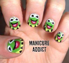 Kermit the Frog Nail Art