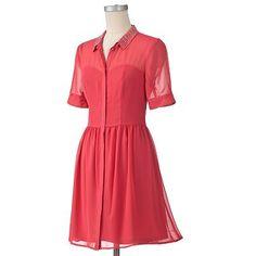 LC Lauren Conrad Embellished Shirtdress