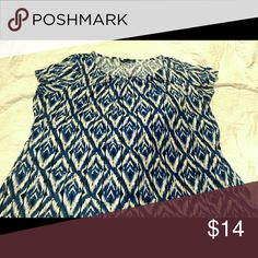 **SALE** Blue & Black Tribal ikat Design Blouse 3X Grayson Brand Short Sleeve This blue, black, and white blouse is great for the office!  95% Polyester 5% Spandex Waist 24in Chest 24in Length 27in Sleeves 7in Grayson Tops Blouses