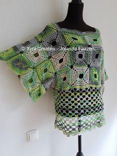 #PATR1084 #shirt #jurk #tuniek #dress #tunic #wijde #wijd #wide #haakpatroon #patroon #haken #gehaakt #crochet #pattern #sweater # trui #shirt #DIY #Vierkanten #vierkant #mouwen #sleeves #square #square #granny Patroon (NL) is beschikbaar via: Pattern (English-US) is available at: www.xyracreaties.nl www.ravelry.com/stores/xyra-creaties www.etsy.com/shop/XyraCreaties
