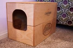 Wine Crate Litter Box Standard Size by RediscoverWoodwork on Etsy