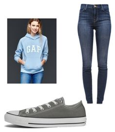 """""""Lazy school day"""" by madelynbird ❤ liked on Polyvore featuring Gap, J Brand and Converse"""