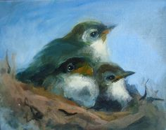 Huddle Baby Birds in Nest Painting by MollyCranch on Etsy, $325.00