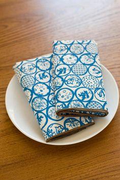 NEW Hand Printed Cloth Napkins, Scandinavian Circles in Cobalt, Anna JoyceTextile Collection