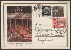 Germany Third Reich 1934 1pf, 6pf + 8pf+4pf Illustrated Postcard Magdeburg to UK - 99p but auction unfinished!